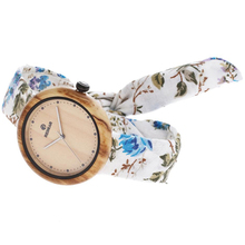Unique design wood watch girls ladies wrist watch fabric leather strap women wooden watch