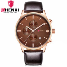 fashion high quality leather quartz chronograph oem men watch