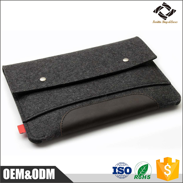 Hot selling wool felt laptop sleeve/felt laptop case with extra pocket for accessories for ipad with leather bottom