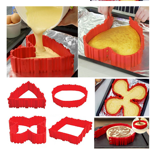 Hot bakeware flower silicone baking moulds 4pcs As seen on TV bakeware Cake Mould Baking Mould Kitchen Tool Magic Bake Snakes