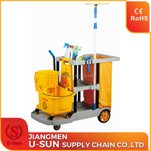MultiPurpose room service trolley Hotel Housekeeping Cart Janitorial Cleaning Trolley Cart With Yellow Bag