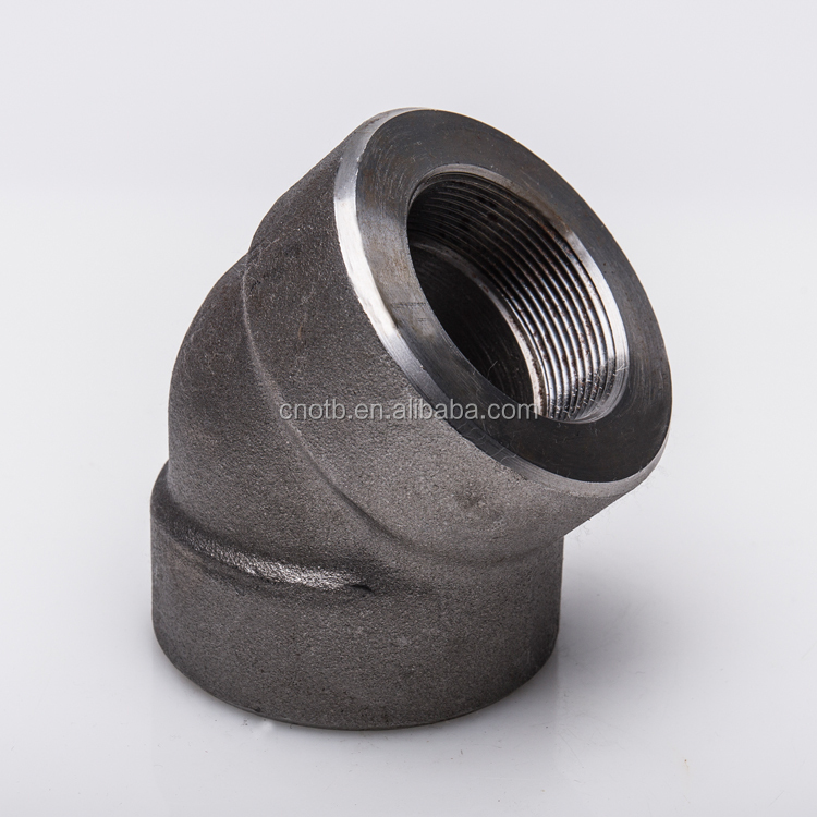 Galvanized forged steel elbow 45deg ASTM a105 3000lb threaded elbow pipe fitting forged elbow