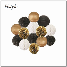 Hstyle-Gold Black White Paper Crafts Tissue Paper Pom Poms Lantern Star Garland Birthday Wedding Party Decoration SDS031