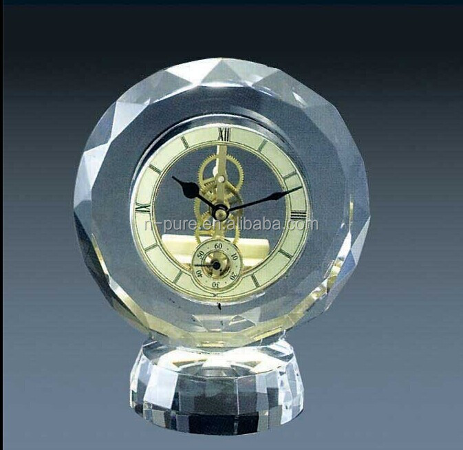 Diamond Cut Elegant Crystal Glass Clock