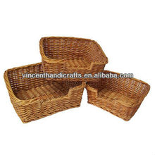 Rustic natural wicker woven cat bed dog bed pet baskets
