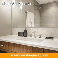China White Quartz Bathroom Vanity Countertops With Built In Sink