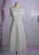 beading belt/sash elbow sleeves french lace A-line wedding dresses 2015 guangzhou L0945