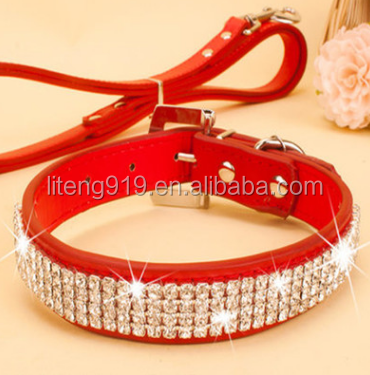 Pet Rhinestone Dog & Cat Collar - Flocking Made with Diamonds Studded P065