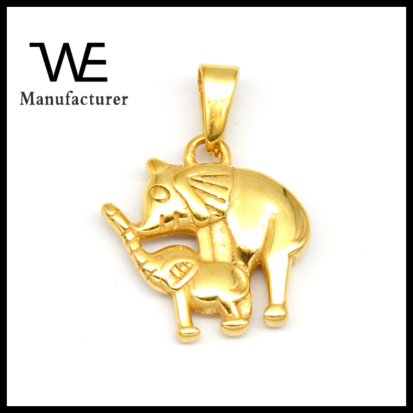 Mother And Child Elephant Shaped Mother's Love Stainless Steel Gold Pendant Jewelry