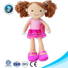 Cartoon customized plush dress up girl doll fashion cute stuffed plush human doll toy
