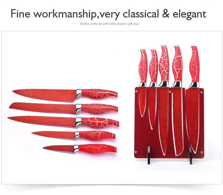 High-end gift unique design lines knife set with bolck
