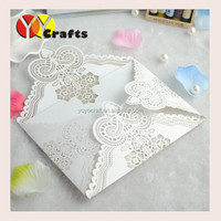 2016 latest ideal products luxury white pearl unique blank wedding invitation card