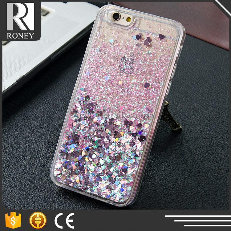 Free Sample Plastic Moving Liquid Glitter Bling Star Mobile Phone Case Back Cover For iPhone 6 / 6s