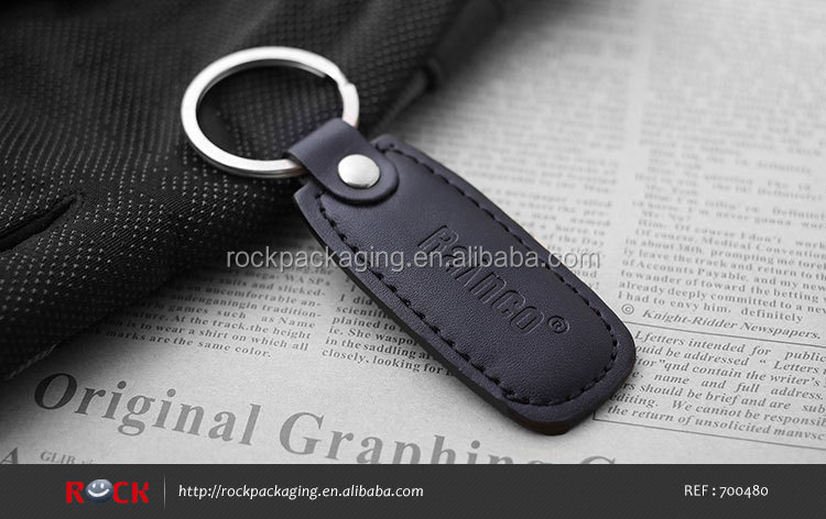 Good quality key chain, Custom made black leather key chain holder for sale