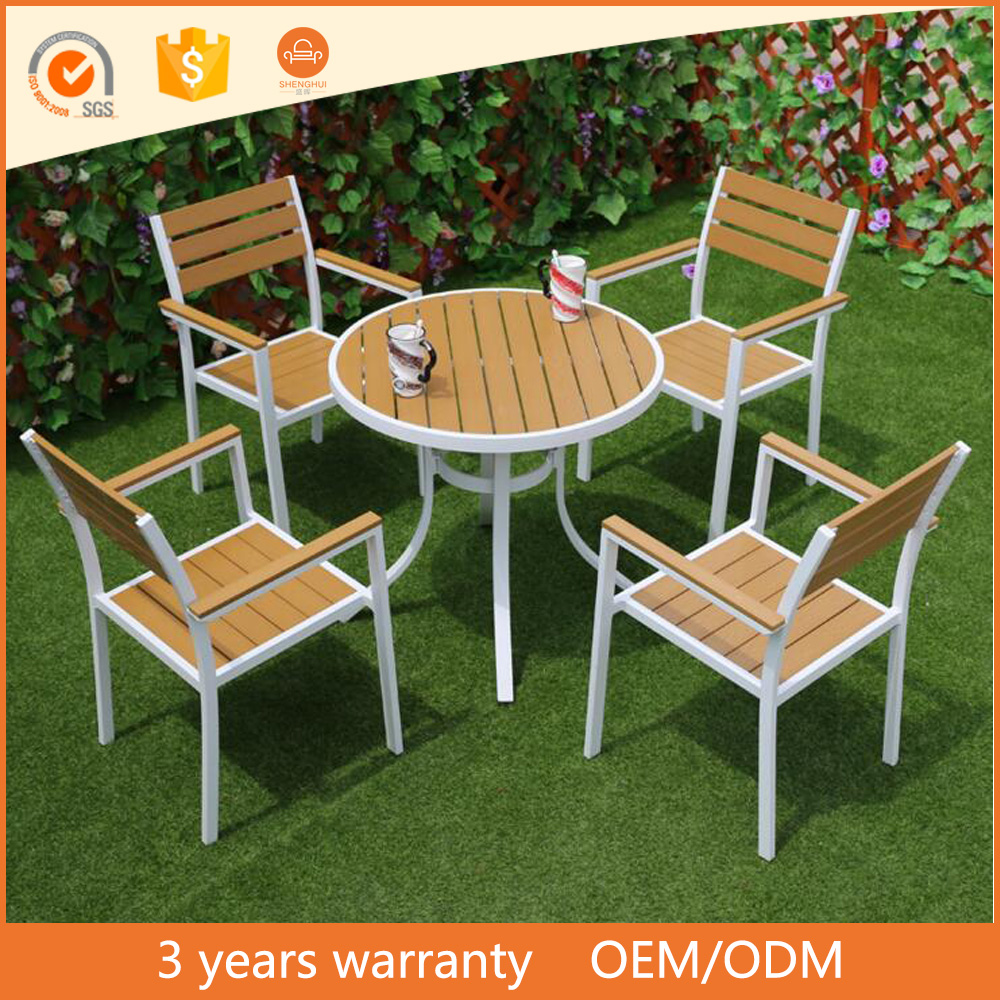 Aluminum Metal Outdoor Patio Garden Table and Chairs Dining Set Color Teak Plastic Wood Furniture