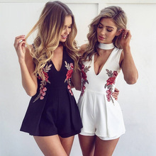 FY 2017 Summer Playsuit Women jumpsuits Short V Neck Embroidered Mini Rose Flower Lady Sexy Night Club Christmas Dresses DK0331