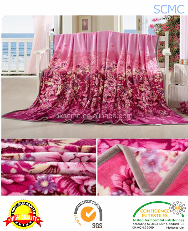High quality super soft red printed flannel 100% polyester fleece blanket