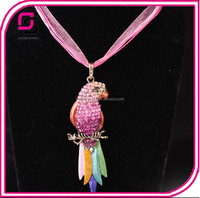 Europe and the United States Fashion Exaggerated Color Feather Parrot Lace Necklace