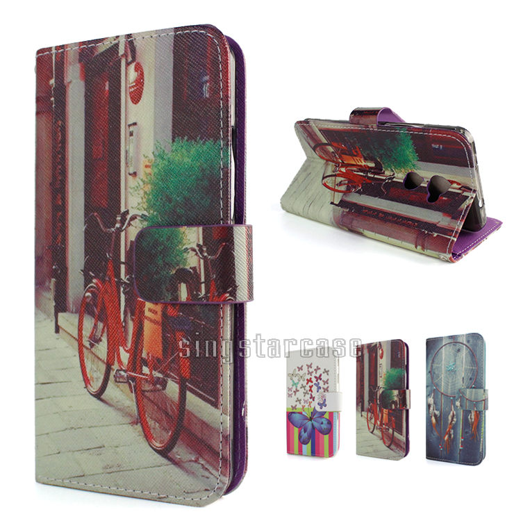 Colors Printed PU Leather Wallet Flip Cover For Vodafone Smart V8 Case