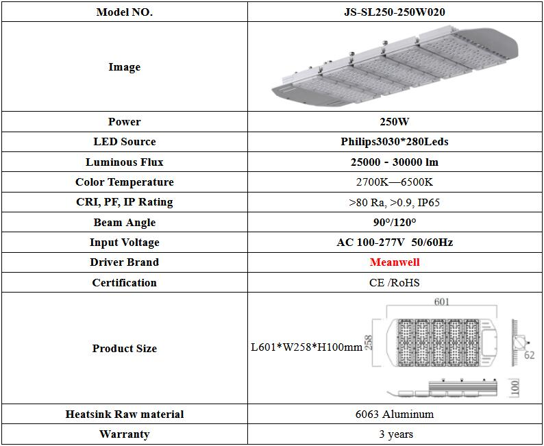 high quality led lights waterproof ip65 Robust and lightweight aluminum housing led street light 250w
