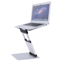 Best Office Solutions Standing Folding Laptop Stand Aluminum Height & Angle Adjustable Laptop Stand for Standing Up