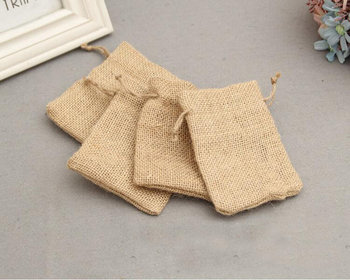Natural jute burlap candy wedding gift pouch bag