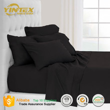 Solid Black Custom Microfiber Bed Sheets Wholesale Queen Deep Pocket Bedding Sheet Sets