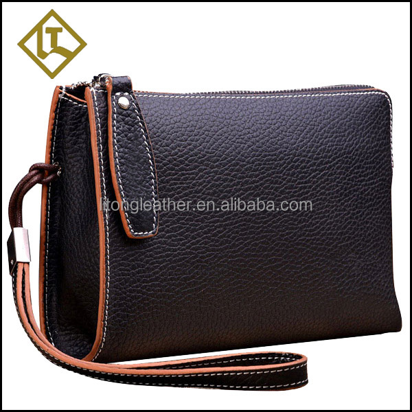 Best quality black colour with zipper cowhide leather men's clutch bag