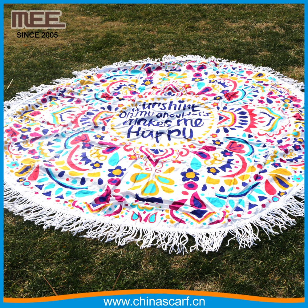 Turkish Round Beach Towel 100% Cotton tassels cotton beach towel