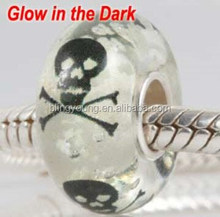 Handmade silver skull glass bead glow in the dark beads