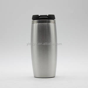 logo design double wall thermos travel coffee mug cup stainless steel plastic water bottle