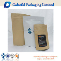 stand up coffee pouch reuseable foill bags kraft paper matte food packaging
