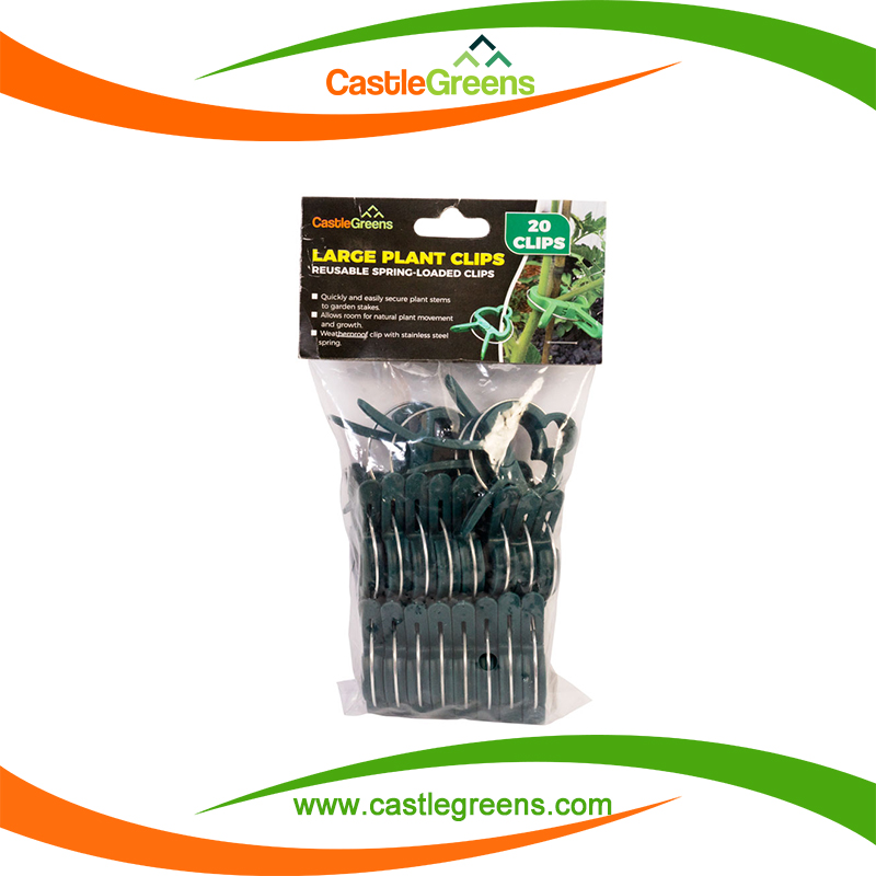 Sprung plastic garden plant flower vegetable bush clips