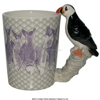 Sea Bird Puffin shaped handle ceramic mug cup