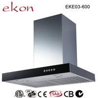 ckd/skd avaliable t shaped sliver mini home appliance 600mm tempered glass 5 speed aluminum filter domestic range hood