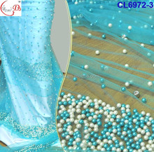 CL6972 2016 May new coming bestselling appealing bright color net lace with numerous colorful pearl