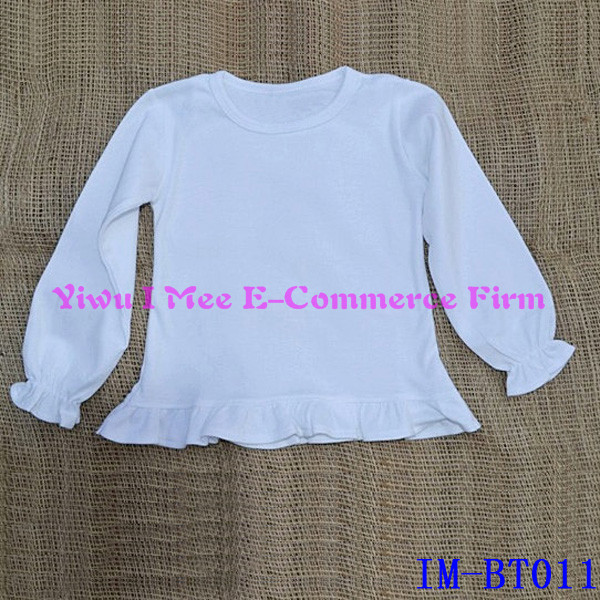 Newest Kids Cotton Clothes White Girls Ruffle Long Sleeves Tee Shirts IM-BT011