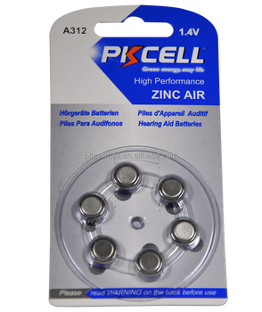 PKCELL zinc air hearing aid battery A312 PR41