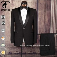 High Quality Perfect 100% wool slim fit black indian wedding txuedo suit for men