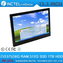 "Cheap china touch screen all in one desktop 13.3"" with Intel Celeron 1037u Dual Core 1.86Ghz 8G RAM 512G SSD 1TB HDD"