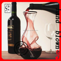 wholesale 650ml hand made lead free crystal Spiral wine decanter glass with OEM logo ZDG0039