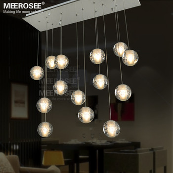 LED Ball Light Restaurant Suspension Lamp LED G4 Bulb Room Crystal Chandeliers Light Fixture for Stairscase MD2197