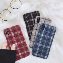 Classical Lint Grid TPU Cell Phone Cases for Iphone 6/7/8/X