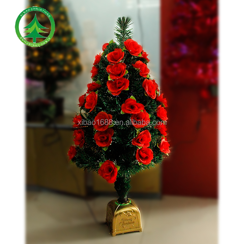 Wholesale PVC/Fiber optic small Christmas tree with Red flowers