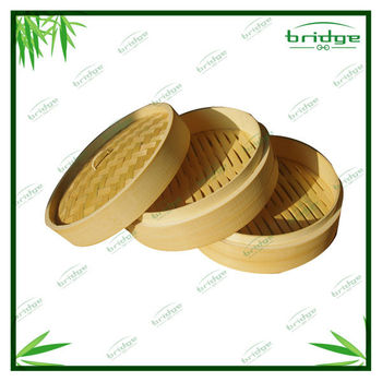 Chinese bamboo 3 tier steamer sets