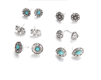 Vintage Bohemian animal multiple earrings set with 9pairs alloy elephant post stud earring set
