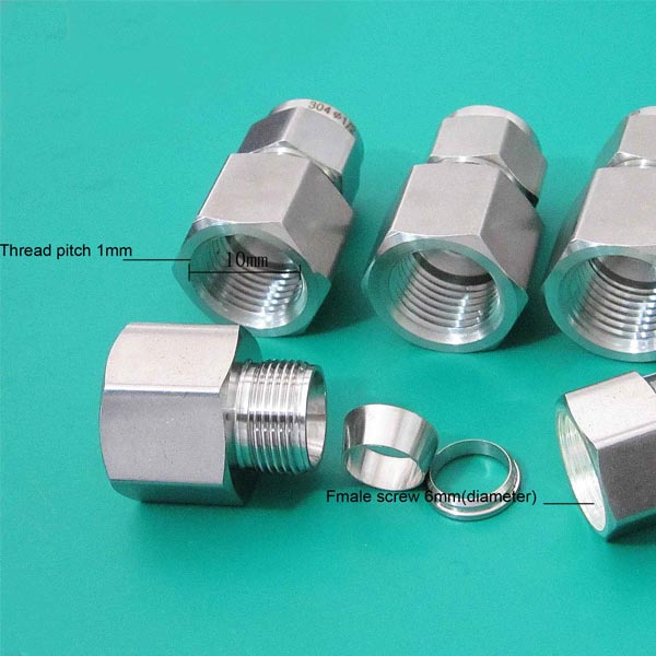 M10x1-6mm Single Ferrule Union Connector/Female Thread Tube <strong>Fitting</strong>
