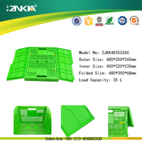 Hot sale plastic foldable moving vegetable crate with lid
