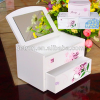 Saving space white jewelry box dispaly rack with mirror