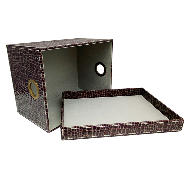 High quality customized fancy pu leather big lots storage box with lid